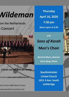 Peter Wildeman in concert with Mens Choir Sons of Korah