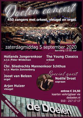 Doelenconcert 450 zangers met orkest, vleugel en orgel